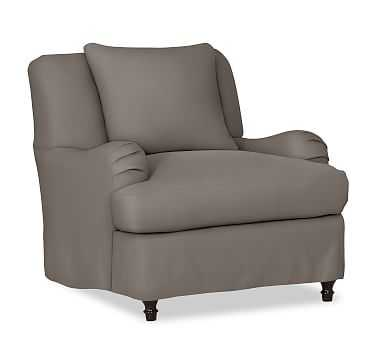 Carlisle Slipcovered Armchair, Polyester Wrapped Cushions, Performance Twill Metal Gray - Pottery Barn