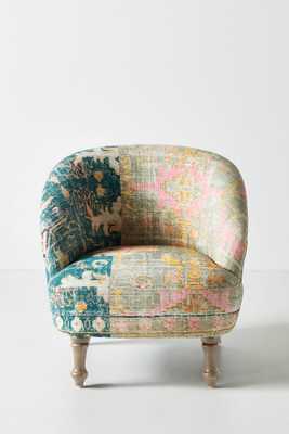 Rug-Printed Accent Chair - Green - Anthropologie