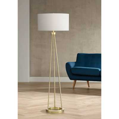 Saxony Brushed Brass Tripod Floor Lamp - Style # 56G91 - Lamps Plus