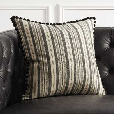 Roulou Black and White Pom Pom Pillow with Down-Alternative Insert - CB2