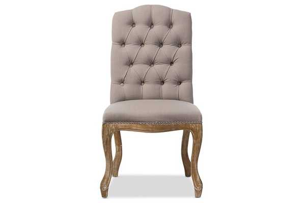Baxton Studio Hudson Chic Rustic French Country Cottage Weathered Oak Beige Fabric Button-tufted Upholstered Dining Chair - Lark Interiors