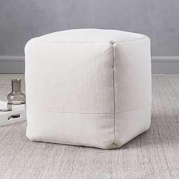"Cotton Canvas Pouf, 16""x16""x17"", Stone White - West Elm"
