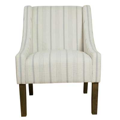 Homepop Striped Dove Grey Poly-Linen Modern Swoop Accent Chair, Gray - Home Depot