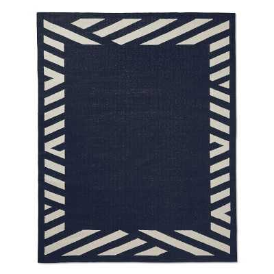 Striped Border Indoor/Outdoor Rug, 8x10', Navy - Williams Sonoma