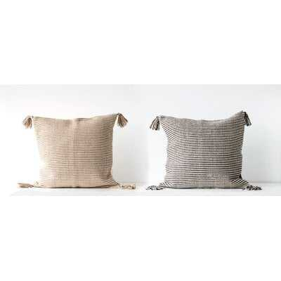 Janousek Striped Woven with Tassels Cotton Throw Pillow (set of 2) - Wayfair