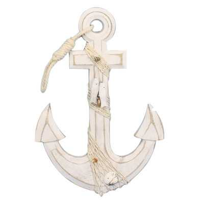 Anwen Rustic Anchor with Hook Rope and Shells Sculpture - Wayfair