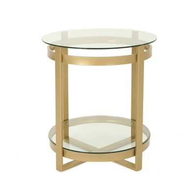 Noble House Solidago Round Clear Tempered Glass Coffee Table with Brass Iron Frame, Clear/Brass - Home Depot