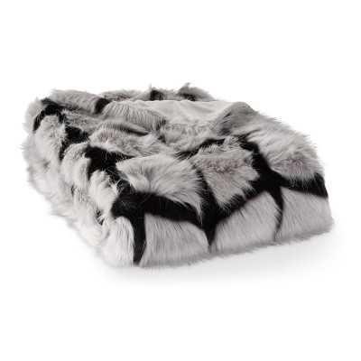 """Chevron Wolf Faux Fur Throw, 50"""" X 65"""", Grey - Williams Sonoma"""