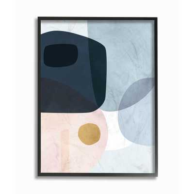 """The Stupell Home Decor Collection 16 in. x 20 in. """"Mod Shapes Blue Navy and Peach Overlapping Abstract"""" by Victoria Borges Framed Wall Art, Multi-Color - Home Depot"""