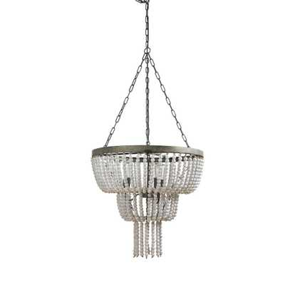 3R Studios Bungalow Lane 3-Light Nickel Metal Pendant with White Wood Beads - Home Depot