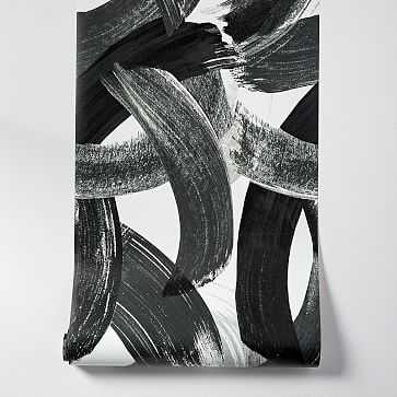 "Abstract Brushstrokes Wallpaper, Black, 20.5""w x 33'h - West Elm"