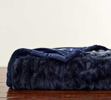 """Monique Lhuillier Throw, 50"""" x 60"""", Ruched Navy - Pottery Barn"""