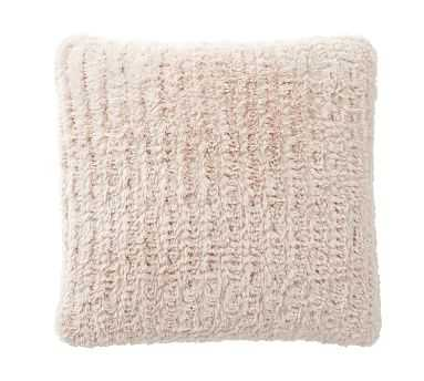 Knitted Faux Fur Pillow, 20 Inches, Blush - Pottery Barn