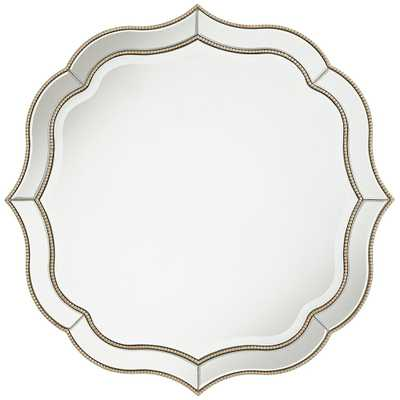 "Laureen Antique Silver 32"" Scalloped Round Wall Mirror - Style # 60H67 - Lamps Plus"