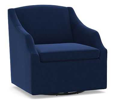 SoMa Emma Upholstered Swivel Armchair, Polyester Wrapped Cushions, Performance Everydayvelvet(TM) Navy - Pottery Barn
