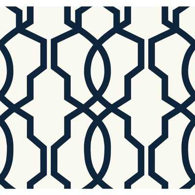 Ashford Geometrics Hourglass Trellis Wallpaper, Navy Blue/White - Home Depot