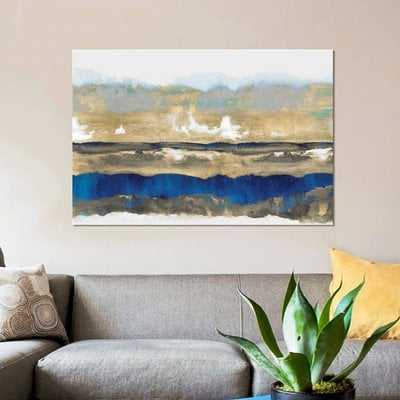 'Strata in Blue & Gold' Painting Print on Wrapped Canvas - Wayfair
