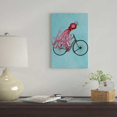 'Octopus On Bicycle' By  Coco de Paris Graphic Art Print on Wrapped Canvas - Wayfair