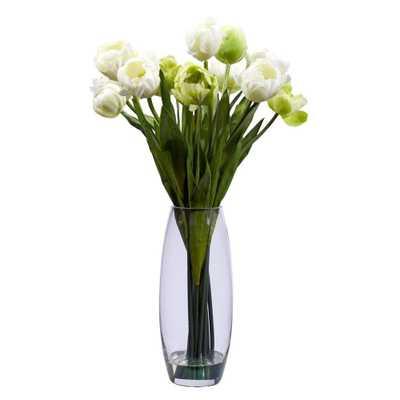 20 in. H White Tulip with Vase Silk Flower Arrangement - Home Depot