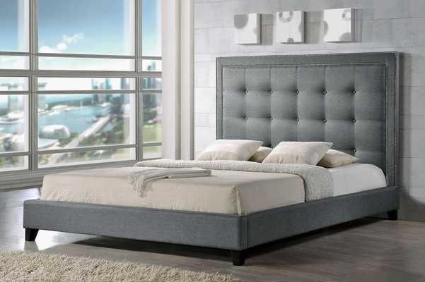 Baxton Studio Hirst Gray Platform Bed- King Size - Lark Interiors