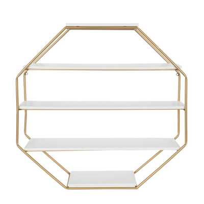 Kate and Laurel Lintz 7 in. x 31 in. x 31 in. White/Gold MDF Decorative Wall Shelf - Home Depot