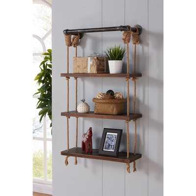24 in. Silver Brannon Modern Walnut Wood Floating Wall Shelf, Gray/Brown - Home Depot