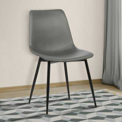 Monte 32 in. Gray Faux Leather and Black Powder Coated Finish Contemporary Dining Chair - Home Depot