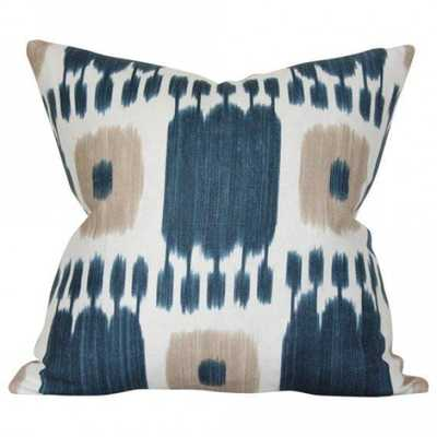 Kandira Indigo Blue - 20x20 pillow cover / pattern on front, solid on back - Arianna Belle