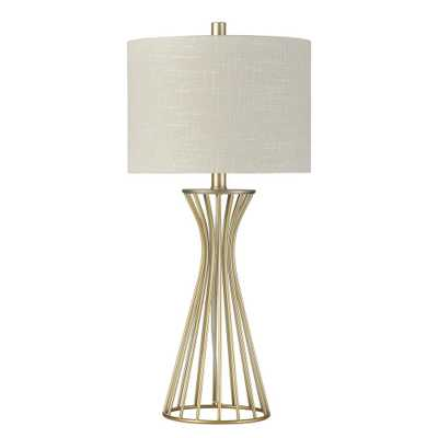 StyleCraft 27.5 in. Champagne Gold Table Lamp with Oatmeal Hardback Fabric Shade - Home Depot