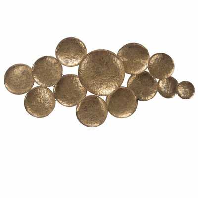 Benjara Circular Wall Sculpture with Connected Antiqued Golden Circles - Home Depot