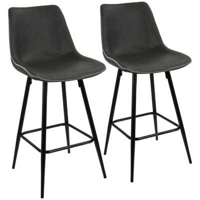 Durango 26 in. Black and Grey Vintage Faux Leather Counter Stool (Set of 2), Grey/Black - Home Depot