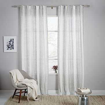 "Striped Ikat Curtain, Platinum, 48""x96"" - West Elm"