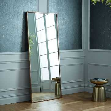 Metal Framed Floor Mirror, Rose Gold - West Elm