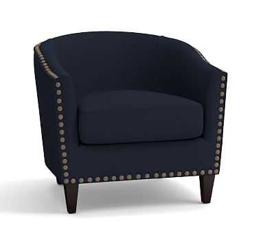Harlow Upholstered Armchair with Bronze Nailheads, Polyester Wrapped Cushions, Twill Cadet Navy - Pottery Barn
