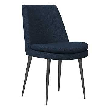 Finley Dining Chair, Low Back, Gunmetal Leg, Chenille Tweed, Nightshade, Gunmetal - West Elm