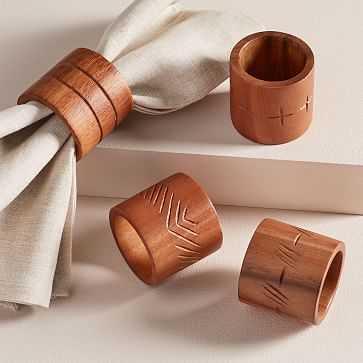 FEED Wood Napkin Rings, Set of 4 - West Elm