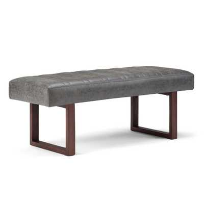 Driscol Distressed Charcoal Ottoman Bench - Home Depot
