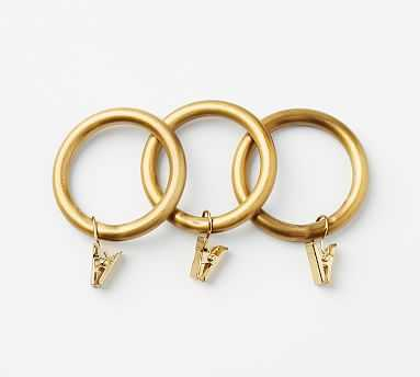 PB Standard Clip Rings, Set of 7, Small, Brass Finish - Pottery Barn