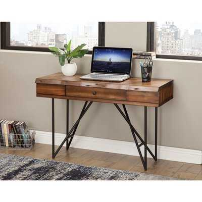 Brammer One Drawer Pointed Metal Legs Acacia Wood Desk - Wayfair