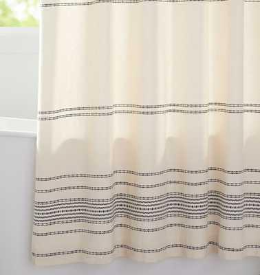 Ivory & Black Woven Striped Shower Curtain - Rejuvenation