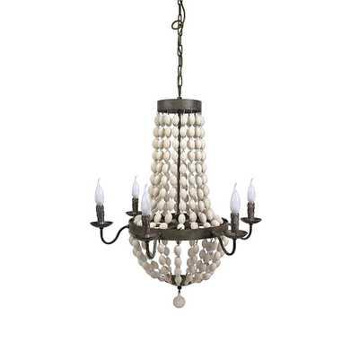 3R Studios Chateau 6-Light White/Black Beaded Chandelier - Home Depot