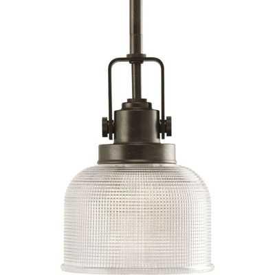 Progress Lighting Archie Collection 1-Light Venetian Bronze Mini Pendant with Clear Prismatic Glass - Home Depot
