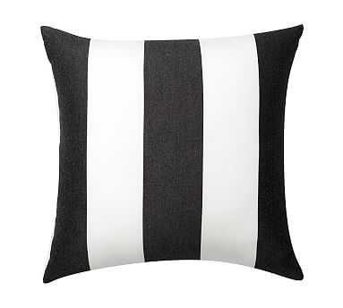 "Sunbrella(R) Awning Stripe Indoor/Outdoor Pillow, 18"", Black - Pottery Barn"