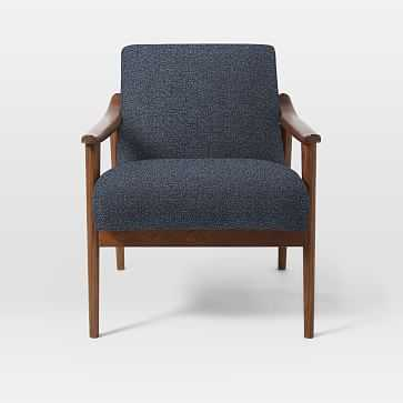 Mid-Century Show Wood Upholstered Chair, Chenille Tweed, Nightshade - West Elm