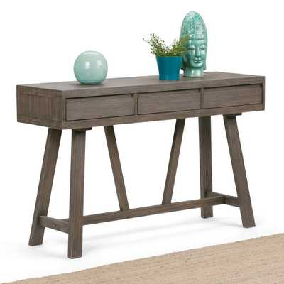 Dylan Driftwood Storage Console Table, Driftwood Finish - Home Depot