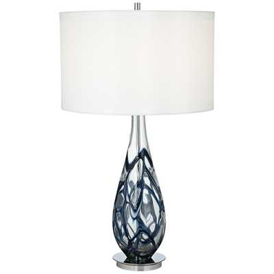 Indigo Swirl Blue Art Glass Table Lamp - Style # 7Y755 - Lamps Plus