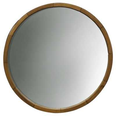 Round Decorative Wall Mirror Wood Barrel Frame - Threshold - Target