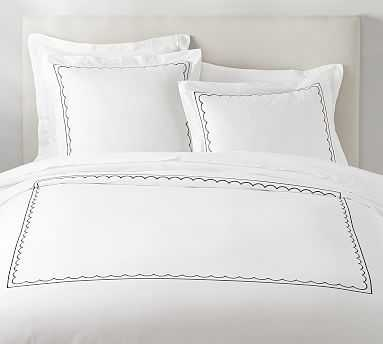Scallop Border Embroidered Organic Duvet Cover, Twin, Midnight - Pottery Barn