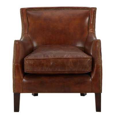 Njord Vintage Light Brown Leather Vintage Club Chair - Home Depot