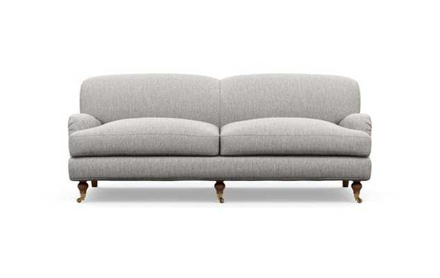 Rose by The Everygirl Sofa with Brown Earth Fabric and Oiled Walnut with Brass Caster legs - Interior Define